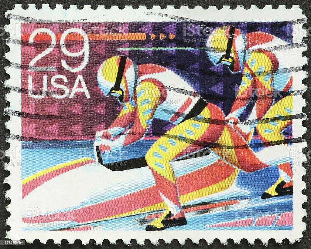 bobsled team stock photo