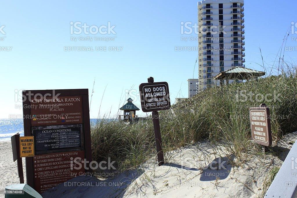 Boca Raton Beach Signs stock photo