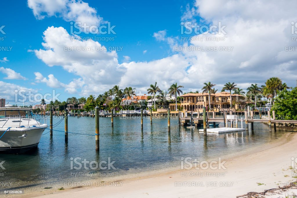 Boca Raton marina with yacht and residential buildings, USA stock photo