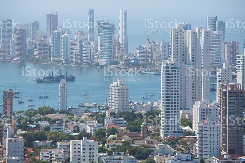 Bocagrande neighborhood of Cartagena stock photo