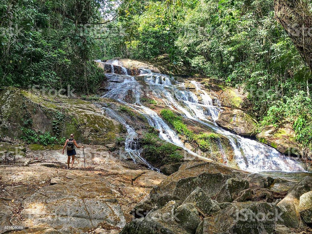 Bocawina waterfall hike stock photo