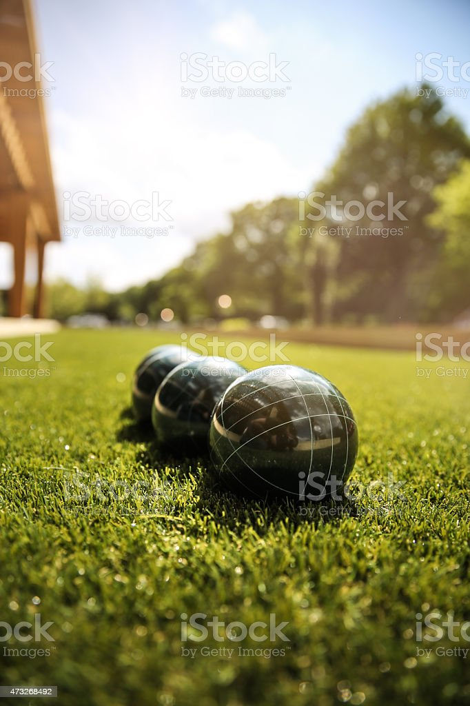 Bocce Ball on a sunny day stock photo