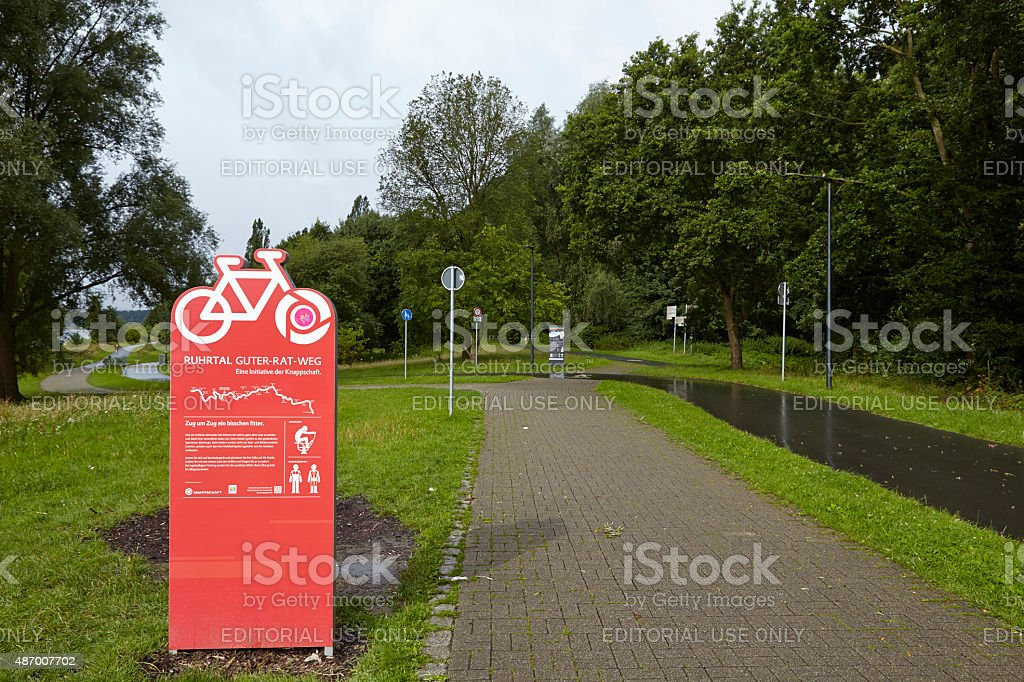 Bochum (Germany) - Ruhr Valley Bicycle Trail at Reservoir Kemnade stock photo