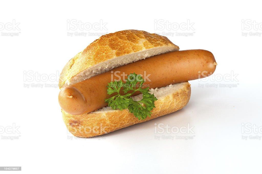 Bockwurst - Sausage, bread and parsley stock photo