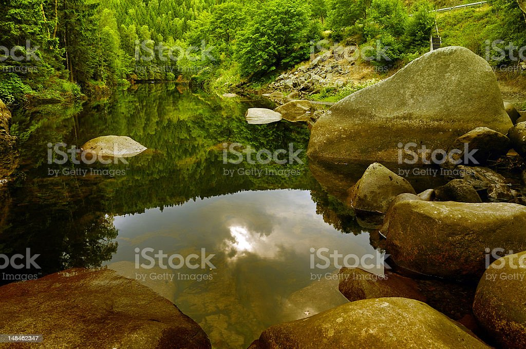 Bode River in Harz Mountains stock photo