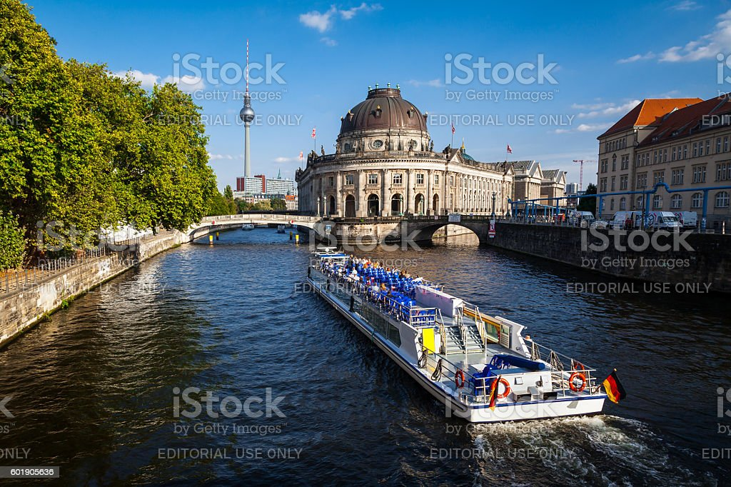 Bodemuseum on Museumsinsel and TV tower on Alexanderplatz, Berlin, Germany stock photo