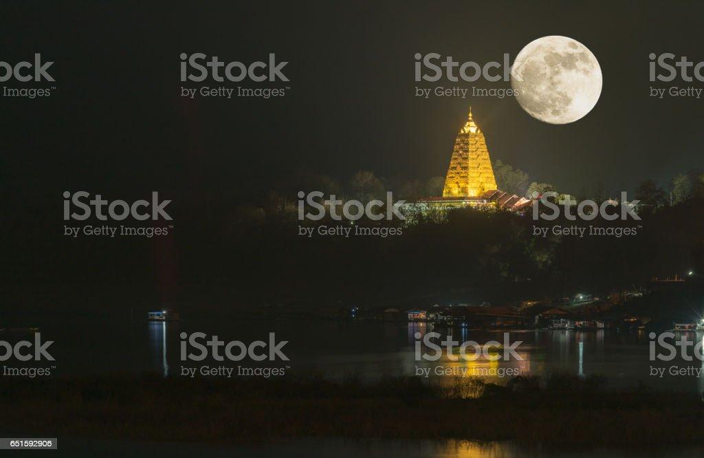 Bodh Gaya pagoda on night with full moon stock photo