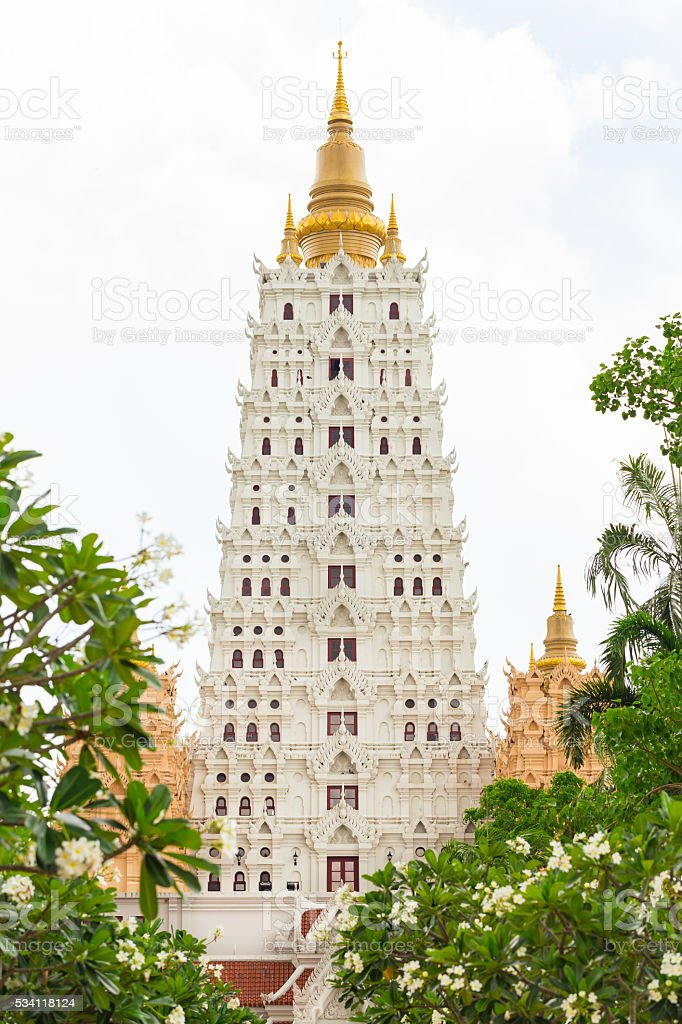 Bodhgaya temple with copy space. stock photo