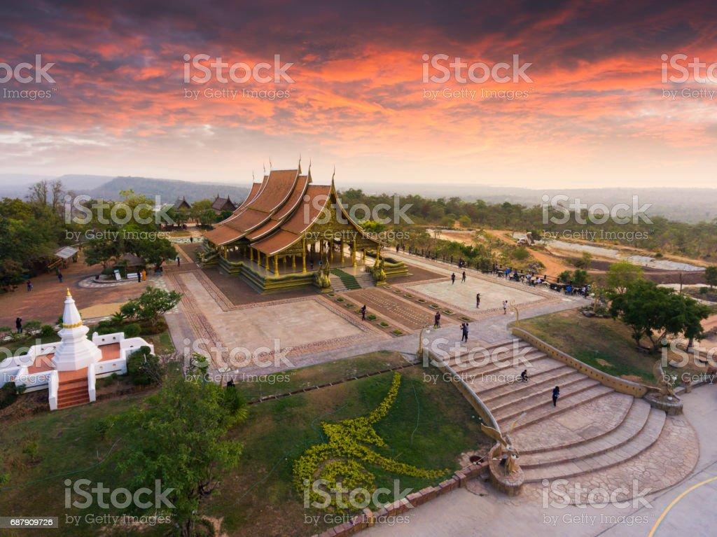Bodhi tree glow Wat Sirindhornwararam stock photo
