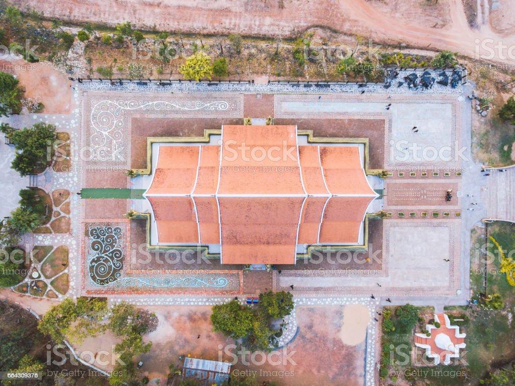 Bodhi tree glow Wat Sirindhornwararam (Phu Prao Temple), Ubon Ratchathani, Thailand. stock photo