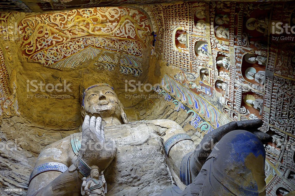 Bodhisattva in Yungang Grottoes stock photo