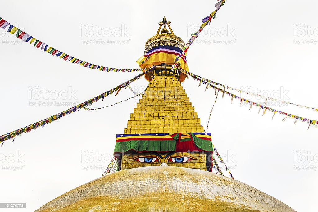 bodhnath stupa in kathmandu with buddha eyes royalty-free stock photo