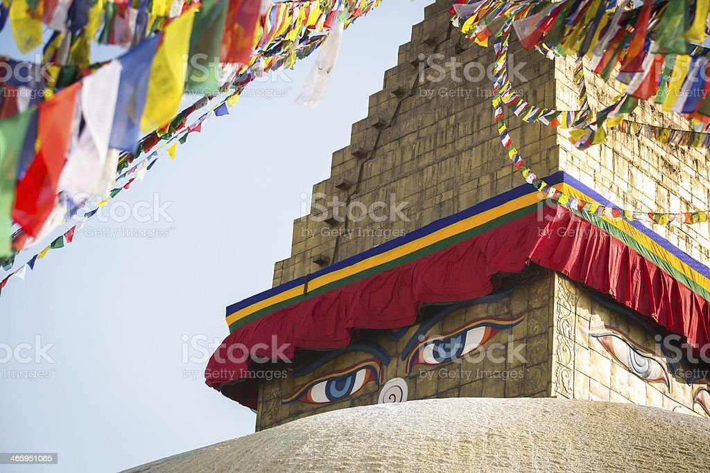 Bodhnath Stupa in Kathmandu with Buddha Eyes royalty-free stock photo
