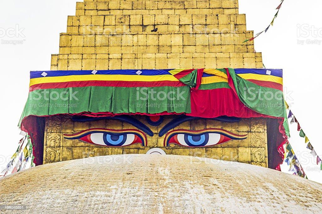 bodhnath stupa in kathmandu with buddha eyes stock photo