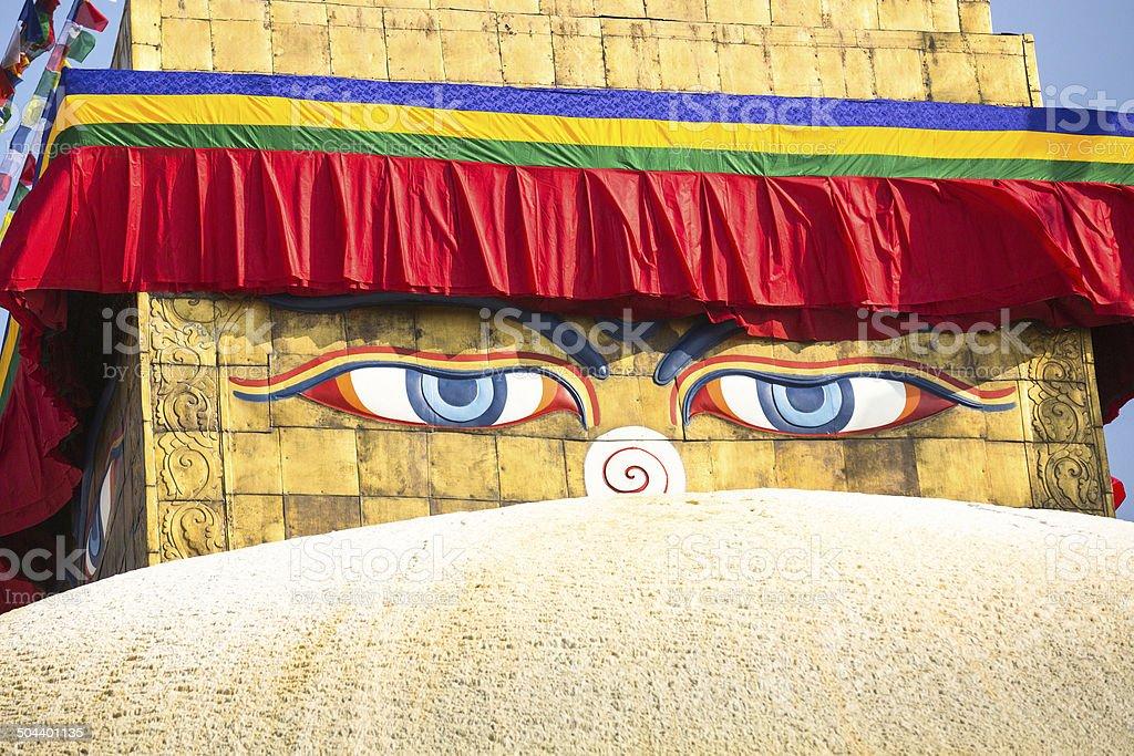 Bodhnath Stupa in Kathmandu with Buddha Eyes. royalty-free stock photo