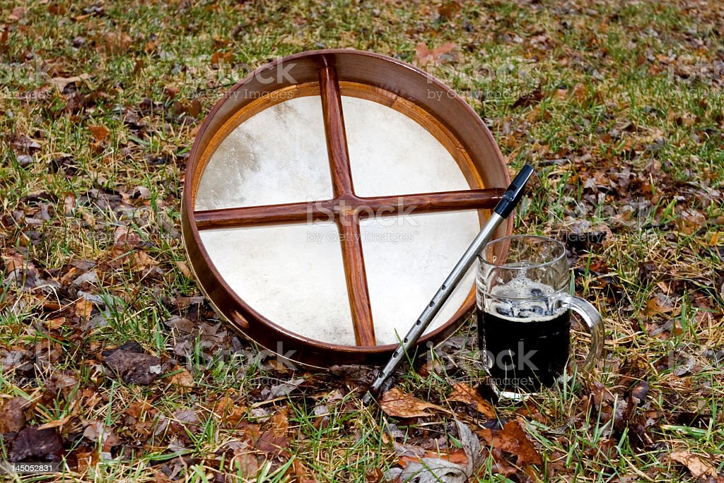 Bodhran, Whistle and Beer stock photo