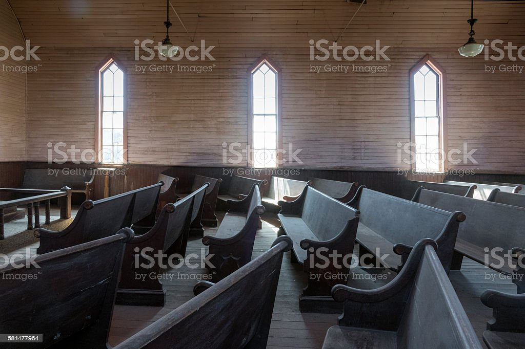 Bodie Ghost Town Methodist Church Interior stock photo