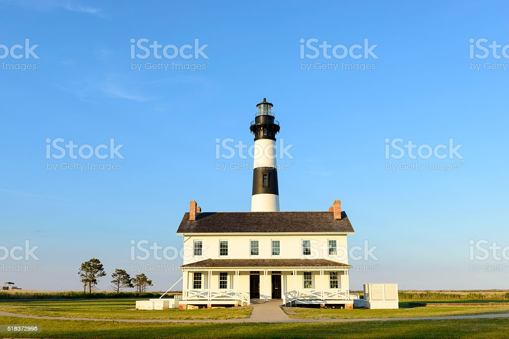 Bodie Island Lighthouse and Light Keepers House stock photo