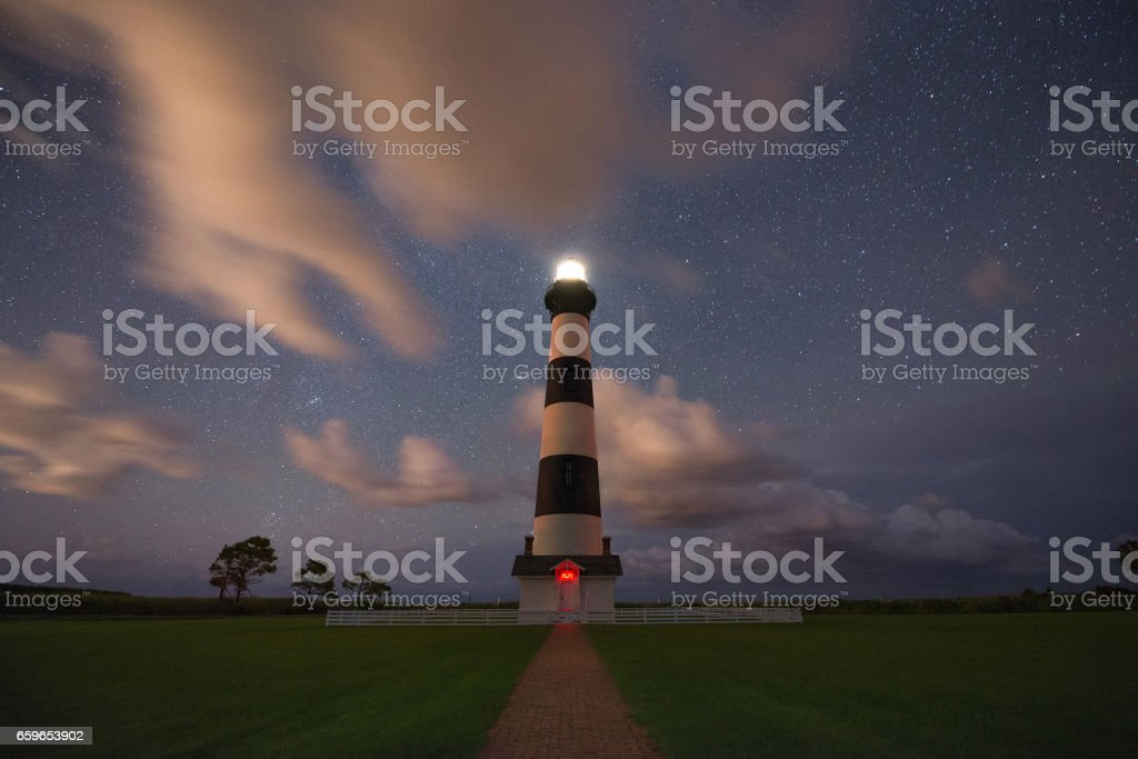 Bodie Island Lighthouse at night stock photo