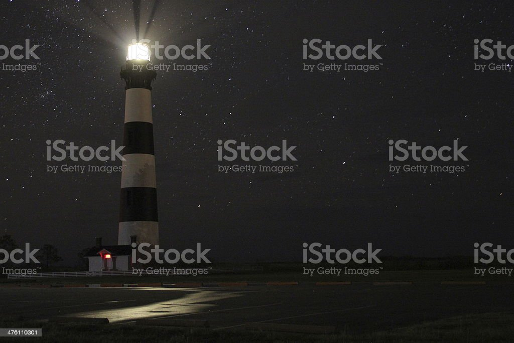Bodie Island Lighthouse at Night with Stars royalty-free stock photo