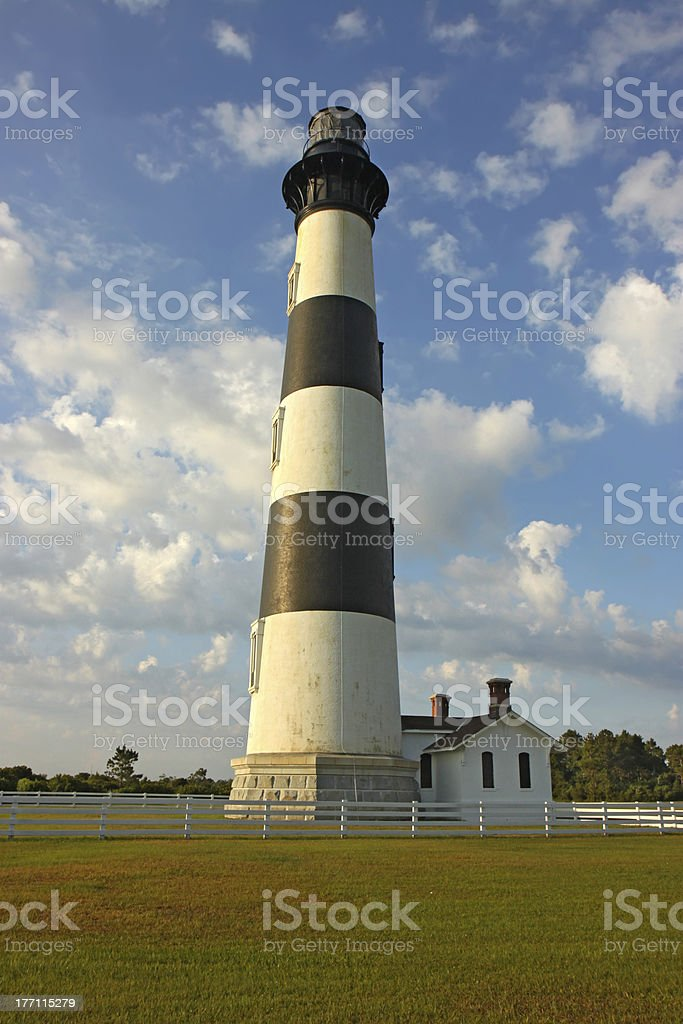 Bodie Island lighthouse, blue sky and white clouds vertical stock photo