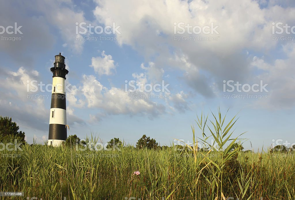 Bodie Island lighthouse from the marshes stock photo