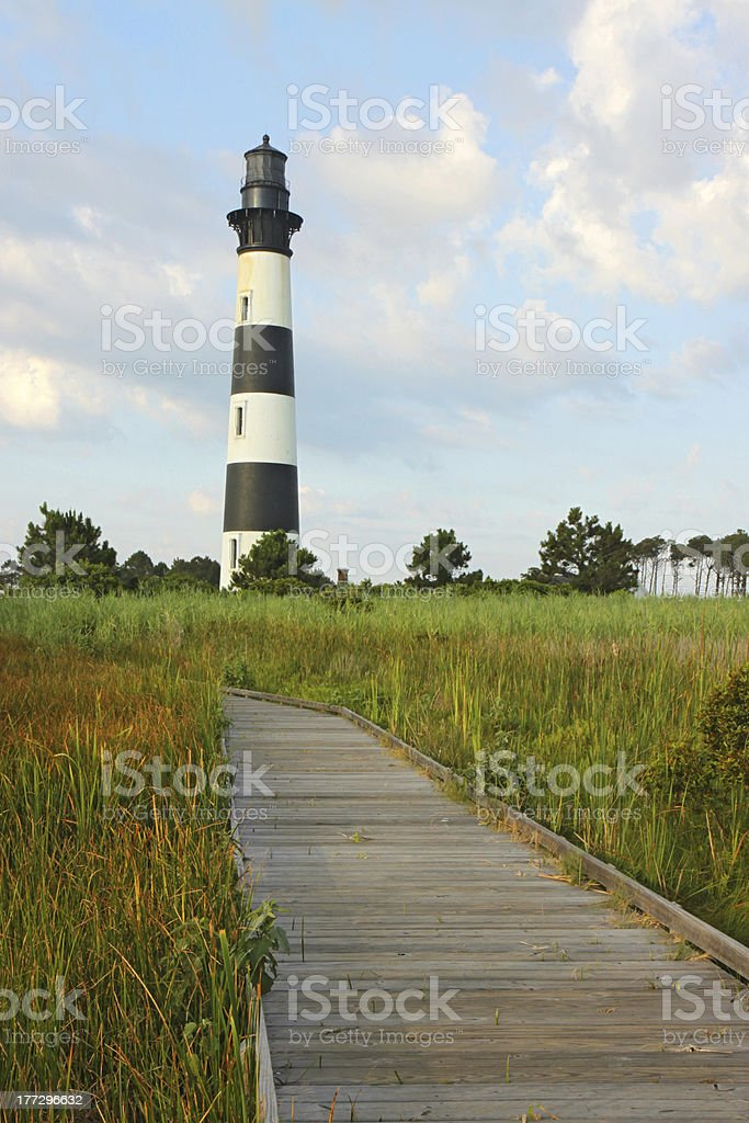 Bodie Island lighthouse on the Outer Banks of North Carolina stock photo