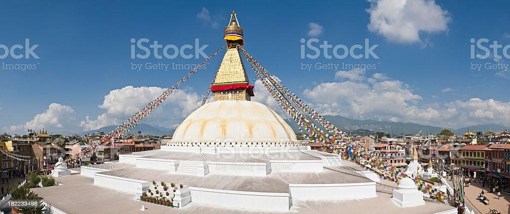 Bodnath Boudhanath giant buddhist stupa mandala panorama Kathmandu Himalaya Nepal stock photo