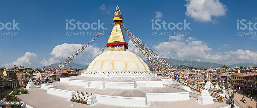 Bodnath Boudhanath giant buddhist stupa mandala panorama Kathmandu Himalaya Nepal stock photo