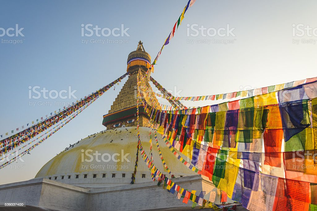 Bodnath flags stock photo