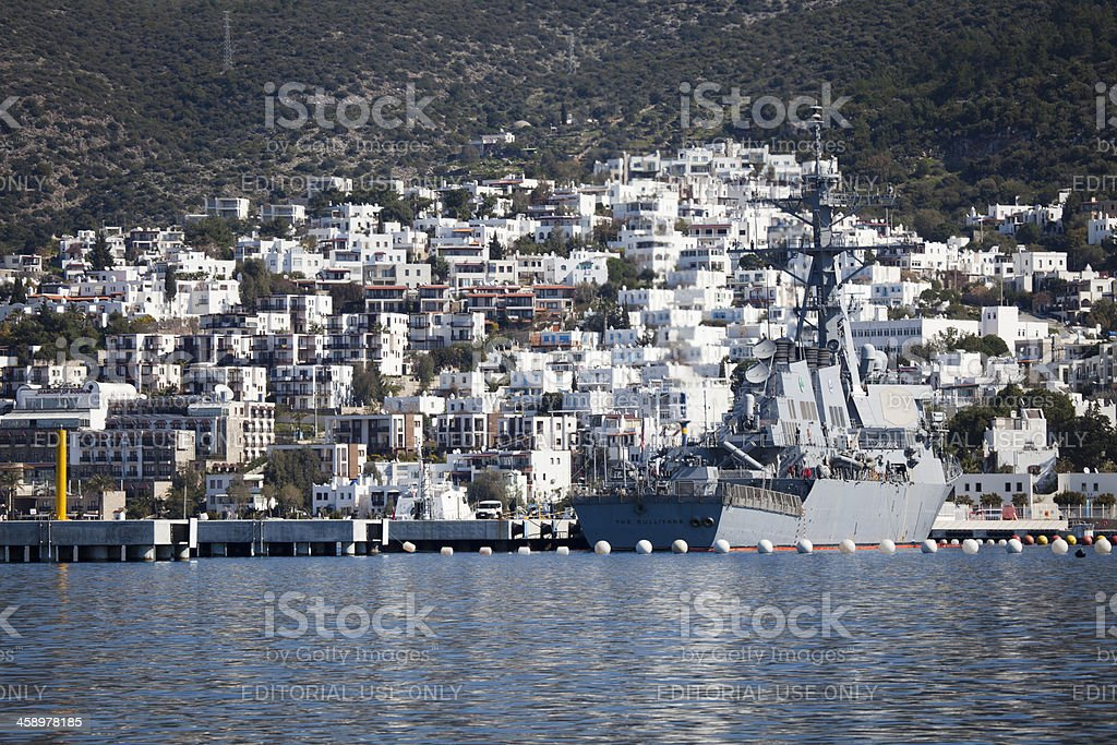 Bodrum and American Military Ship royalty-free stock photo
