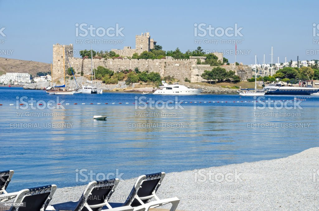 Bodrum Castle or St. Peter's Castle from the beach stock photo