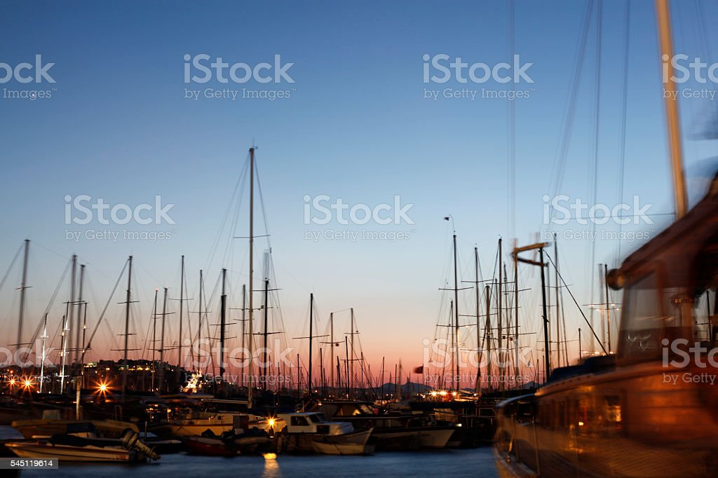 Bodrum harbor on night stock photo