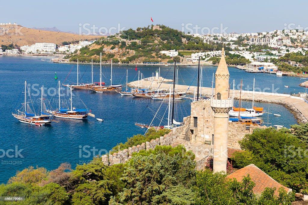 Bodrum marina from Bodrum Castle on Turkish Riviera stock photo