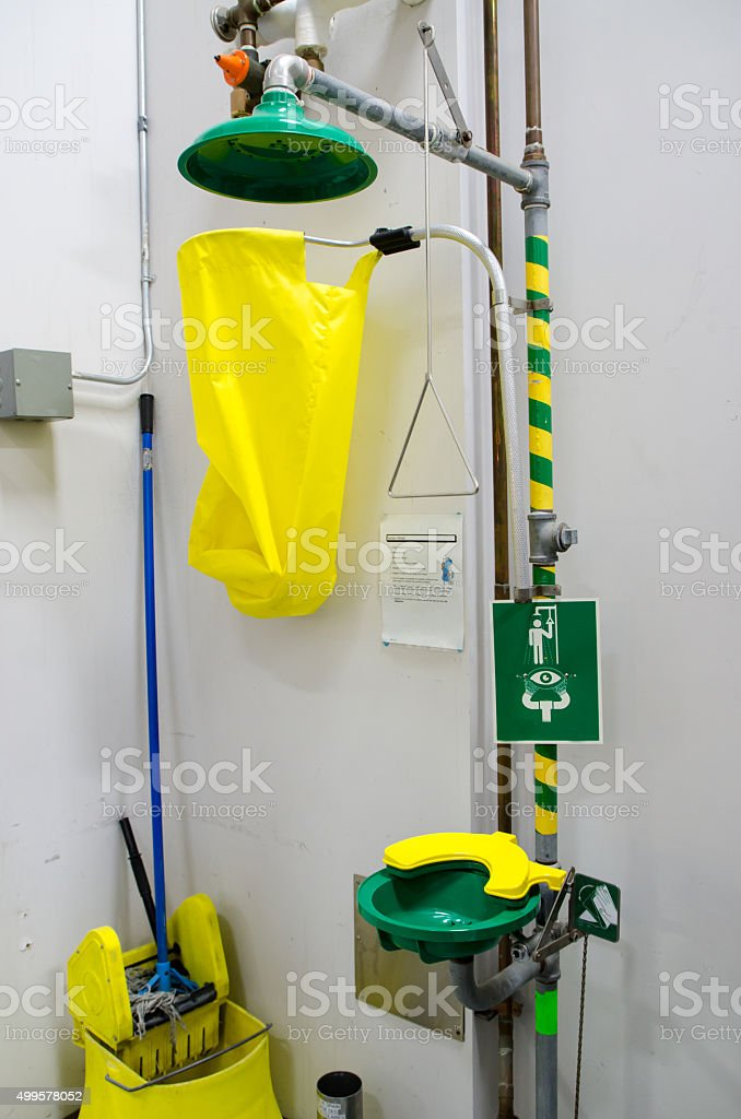 Body and eye shower in a chemical laboratory stock photo