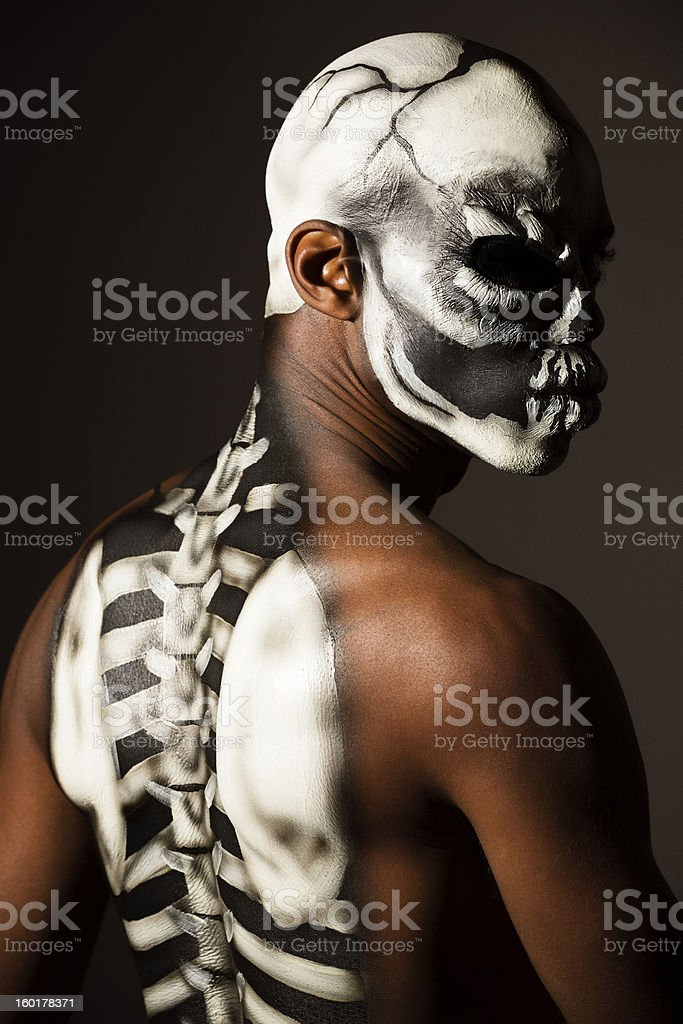 Body art: man with skeleton bodypainting royalty-free stock photo