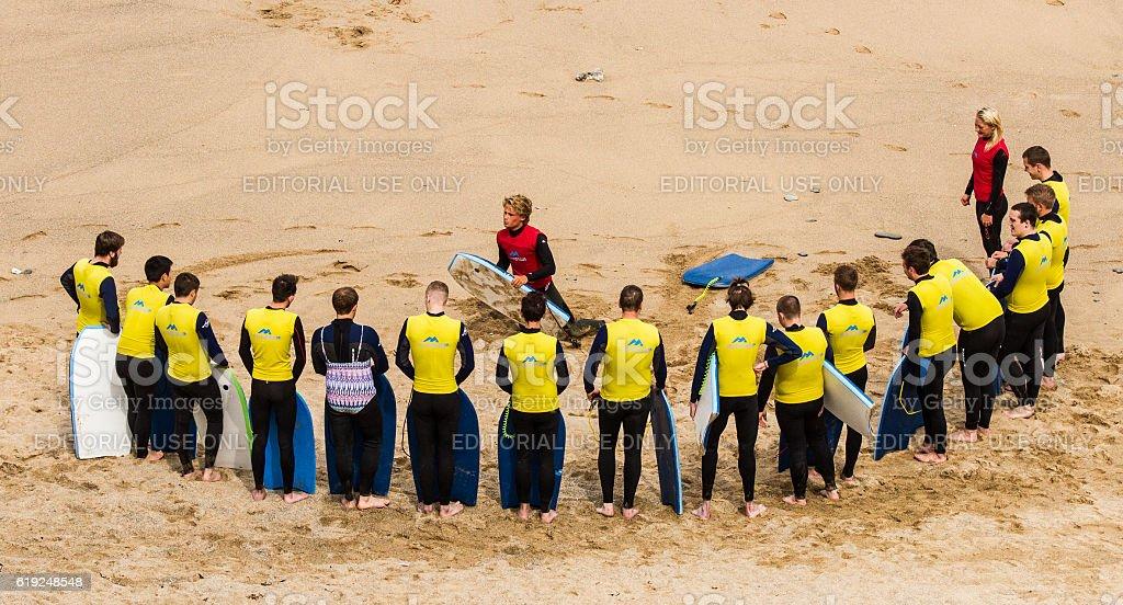 Body boarding lesson. stock photo