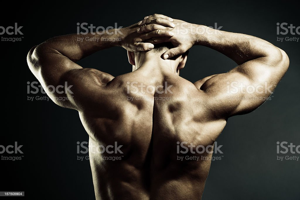 Body Builder Demonstrating his Muscular back royalty-free stock photo