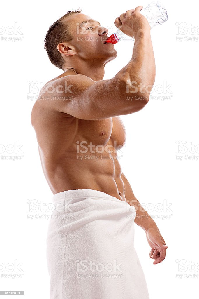 Body Builder Drinking Water royalty-free stock photo
