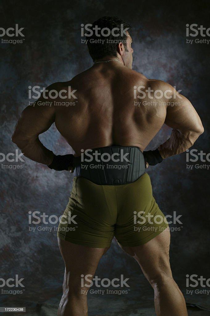 Body builder flexing back stock photo