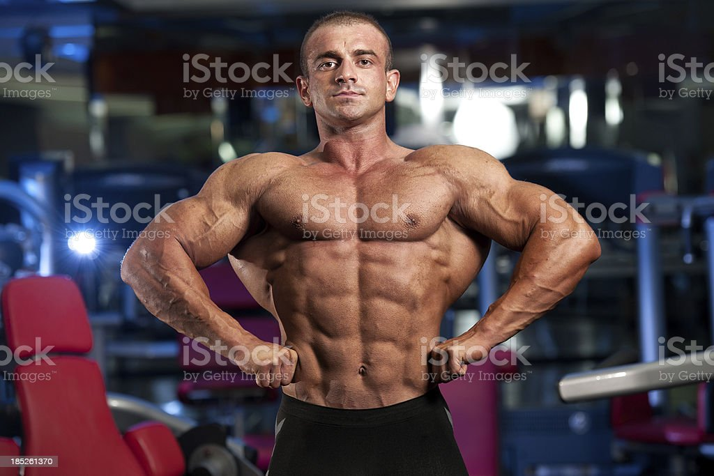 Body Builder Flexing Muscles royalty-free stock photo
