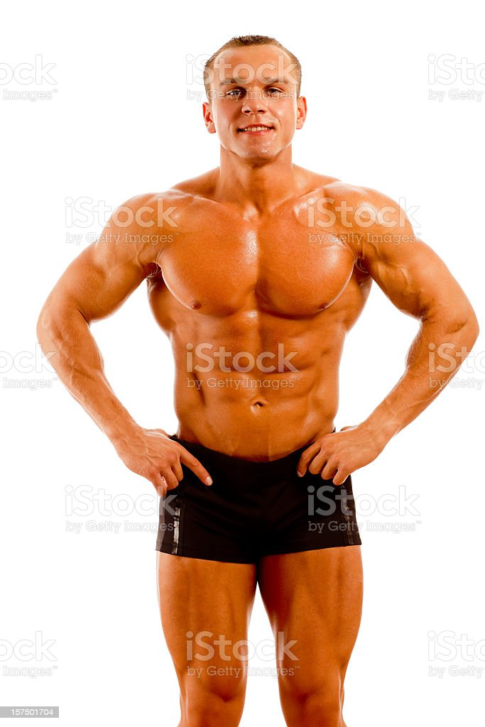 Body Builder Posing on white background royalty-free stock photo