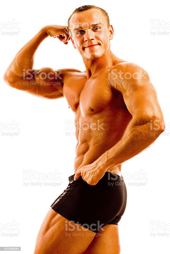 Body Builder Posing on white background royalty-free stock photo