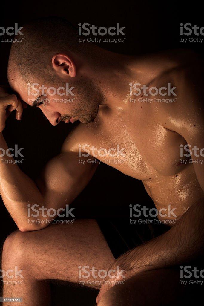 Body builder resting royalty-free stock photo