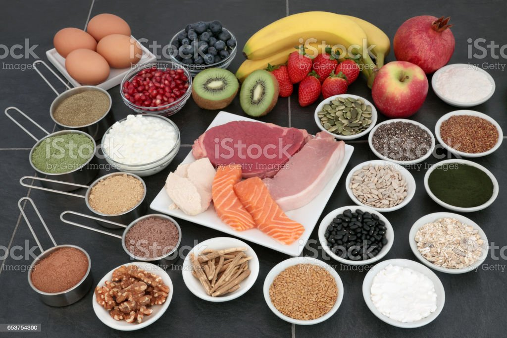 Body Building Health Food Selection stock photo