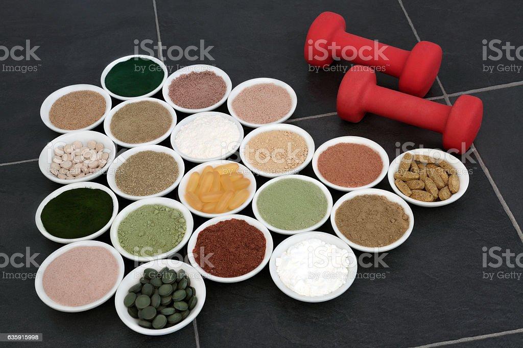 Body Building Powders and Vitamin Pills stock photo