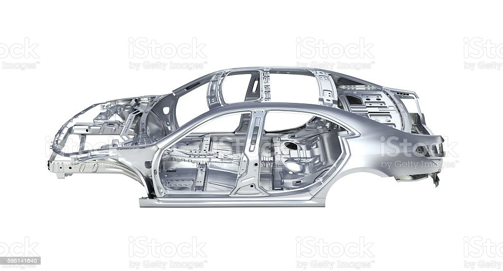 body car without a shadow on white background 3d stock photo