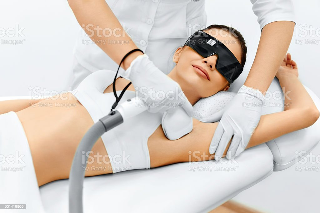 Body Care. Laser Hair Removal. Epilation Treatment. Smooth Skin. stock photo