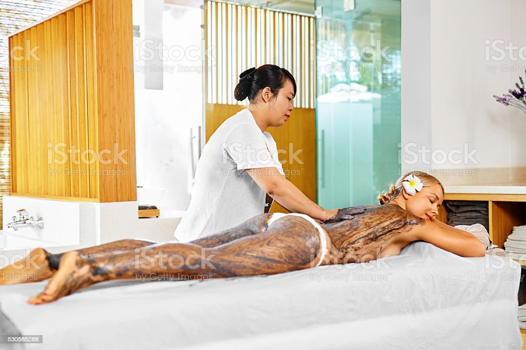 Body Care. Spa Treatment. Woman Mask Beauty Salon. Skin Therapy stock photo