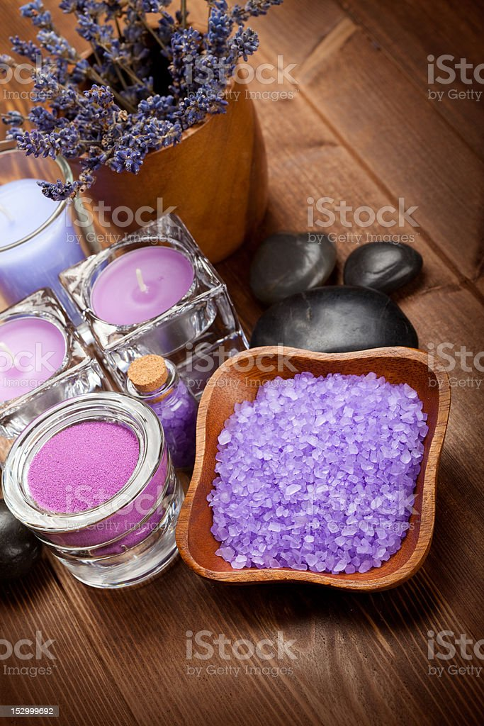 Body care treatment - lavender minerals royalty-free stock photo